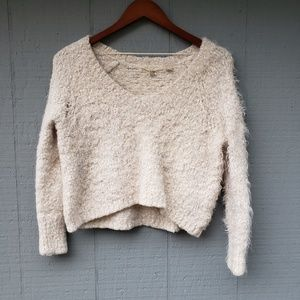 Knitted and Knotted Anthro Cropped Snow Sweater Sm